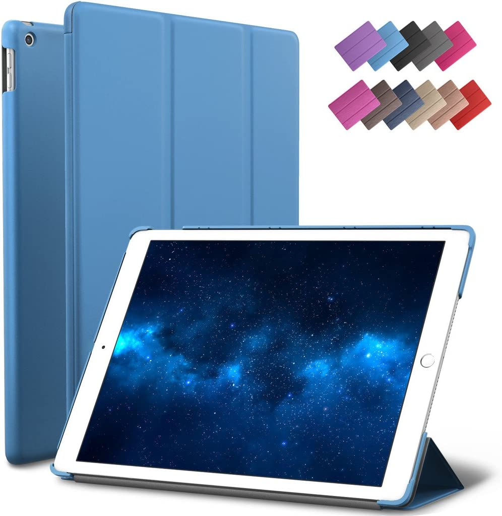 New iPad 9.7-inch 2018 2017 Case, ROARTZ Blue Slim-Fit Smart Rubber Folio Case Hard Cover Light-Weight Wake Sleep for Apple iPad 5th 6th Generation Retina Model A1893 A1954 A1822 A1823