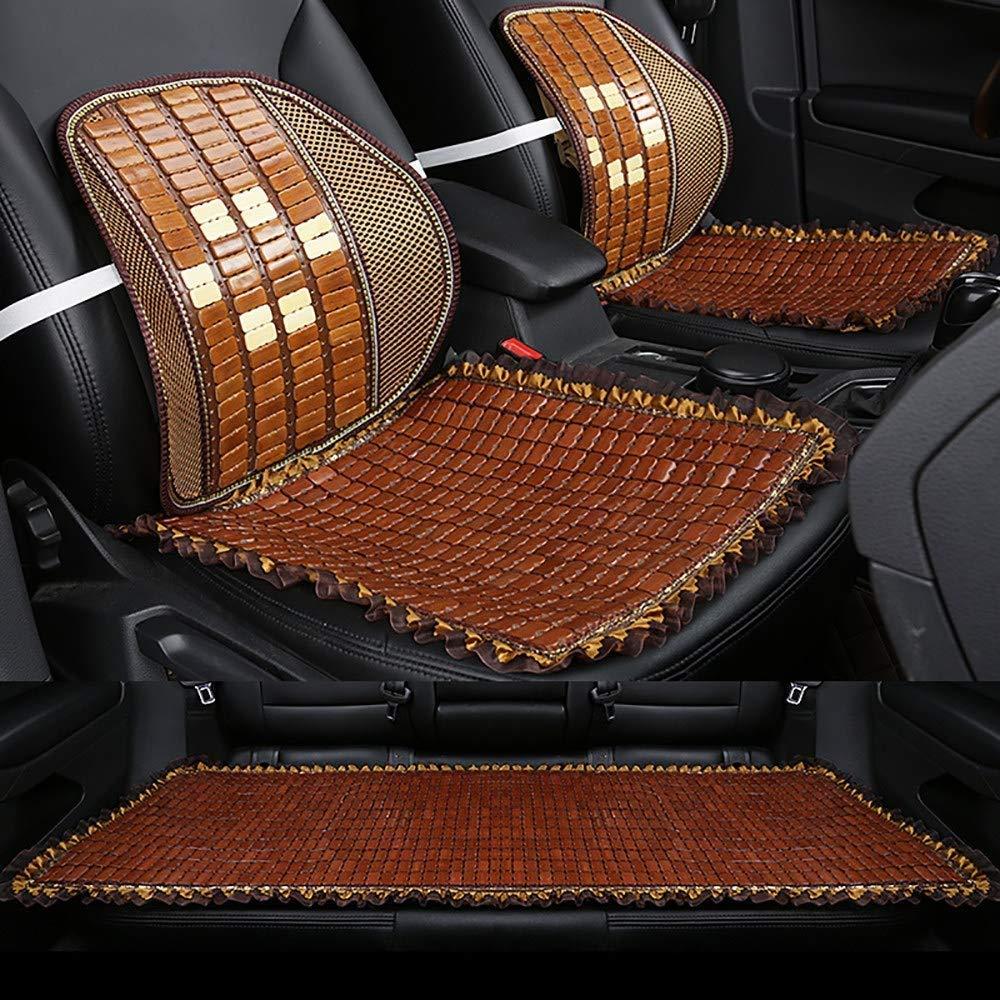 Lqqzq Cushion Adult Car Seat Cushion, Summer Bamboo Mahjong Piece Mat Car Seat Backrest Breathable Refreshing Seat Cushion (3 Pieces) Cushion (Color : C)