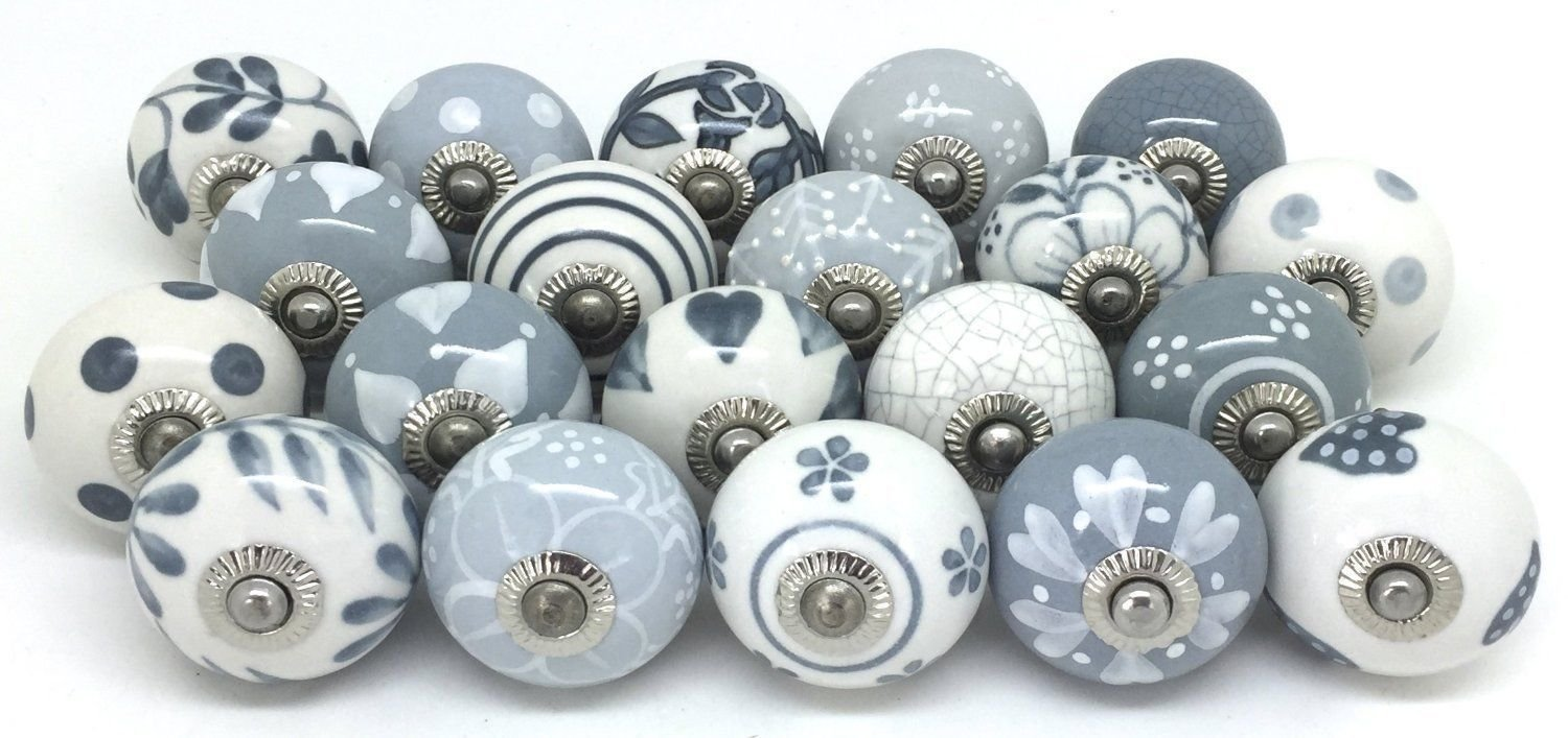 12 Door Knobs Grey & White Hand Painted Ceramic Knob Cabinet Knobs Drawer Pull by Zoya's