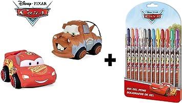 Cars Pack de 2 Peluches Rayo Mcqueen Rojo y Mater grúa marrón 30 cm + 12 bolígrafos de Gel: Amazon.es: Juguetes y juegos