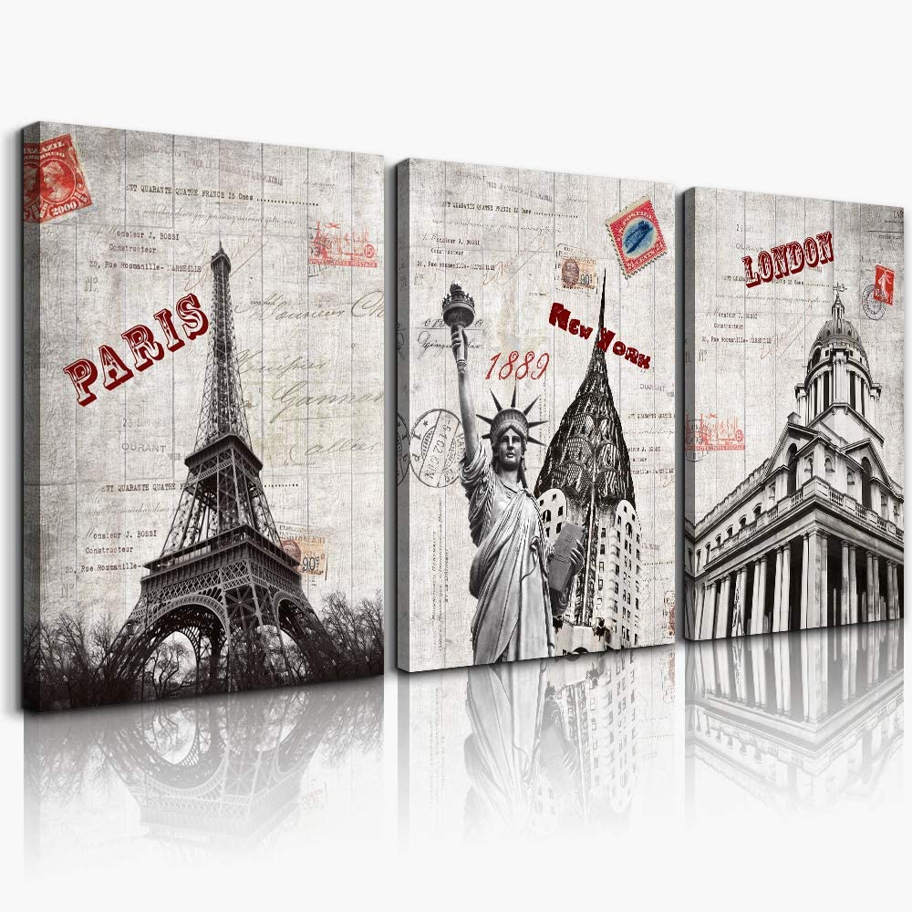 Vintage Eiffel Tower building landscape Canvas Wall Art for Living Room Bathroom Decorations Bedroom Wall decor 3 Pieces Framed print Artwork modern Office Home Decoration Monument wall Artwork
