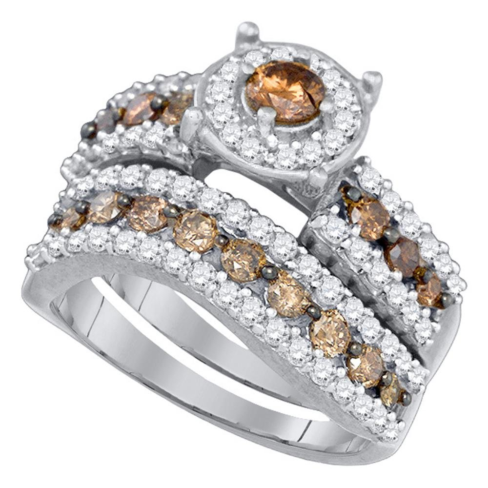10k White Gold Brown Diamond Round Halo Engagement Ring & Wedding Band Set Bridal Set Chocolate 1-3/4 ctw Size 7
