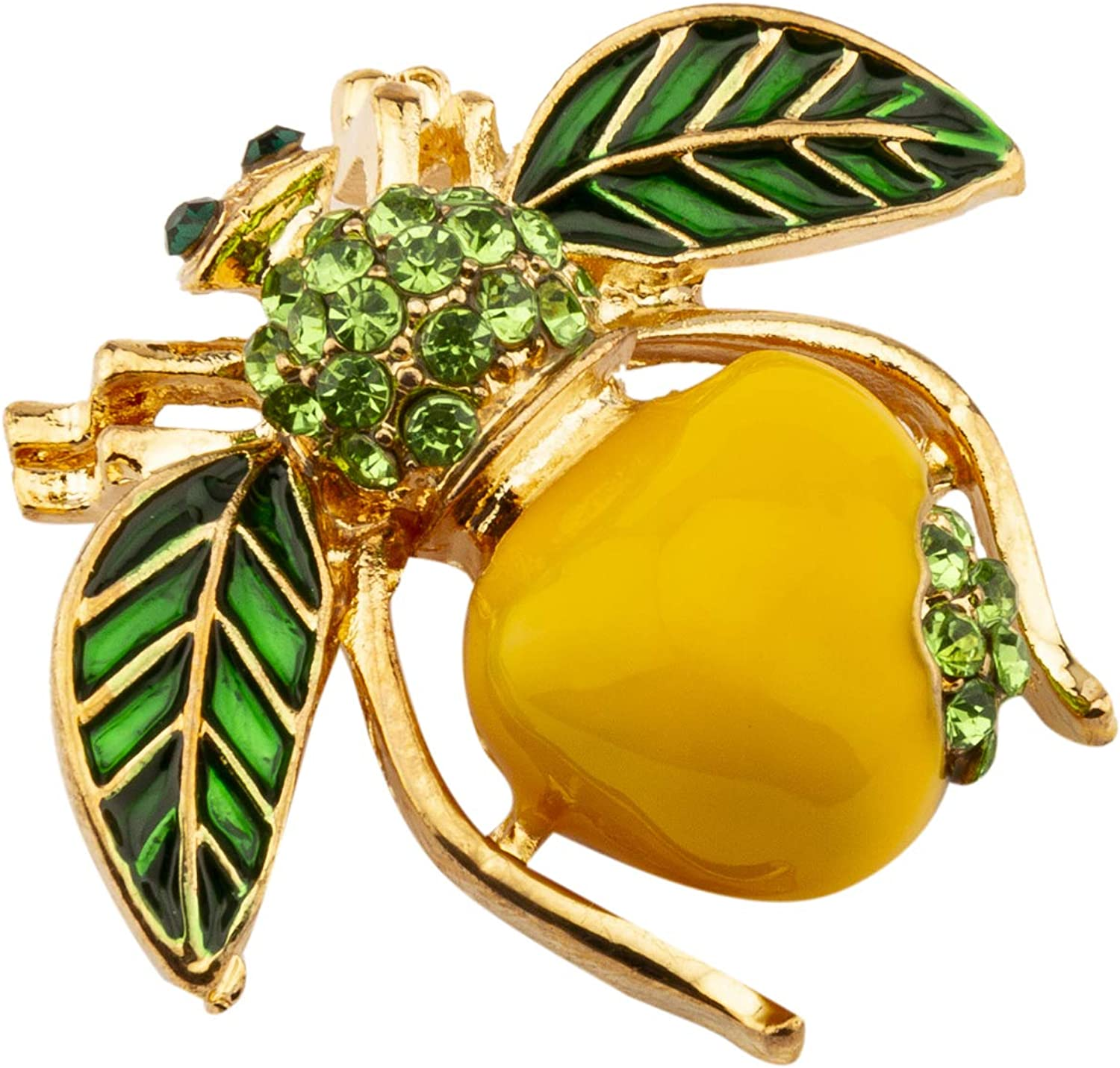 Knighthood Green and Yellow Apple Enamel Bee with Swarovski Detailing Lapel Pin/Brooch