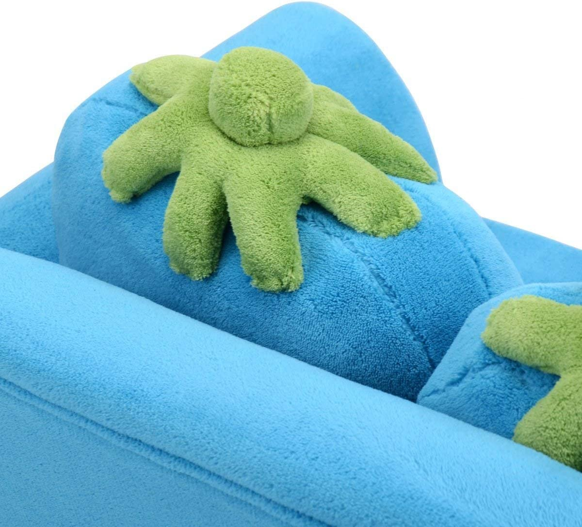 COSTWAY Sof/á para Ni/ños 90x54,8x48cm Sof/á para Infantil 2 Plazas de Terciopelo Coral con 2 Almohadas Azul