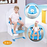 GPCT [Portable] 3-In-1 Kids Toddlers Potty Training Seat W/ Step Stool. Sturdy, Comfortable, Safe, Built In Non-Slip Steps W/ Anti-Slip Pads. Excellent Potty Seat Step Trainer- Boys/Girls/Baby- Blue