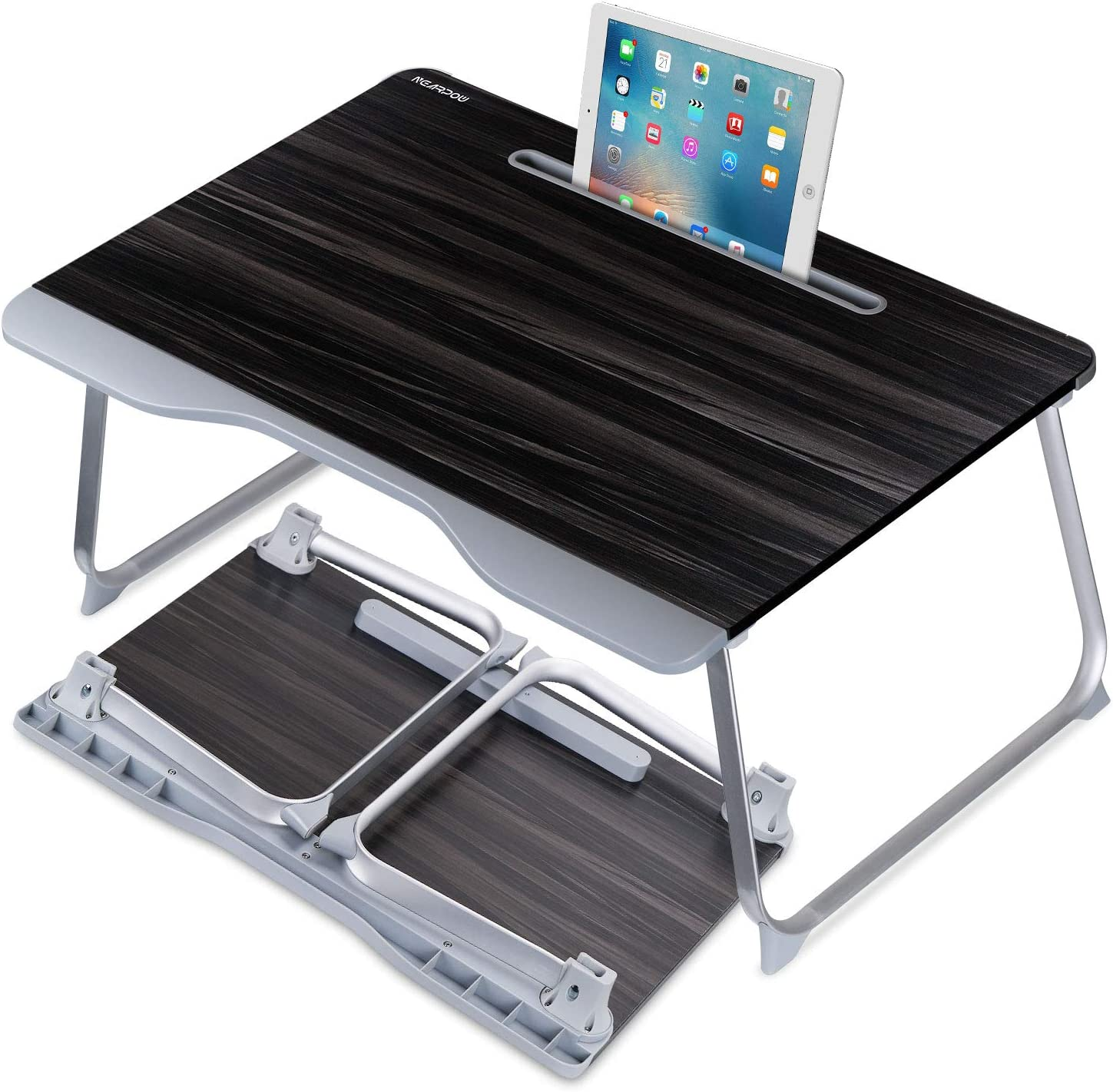 Laptop Desk for Bed, NEARPOW Laptop Bed Tray Table, Portable Folding Laptop Stand for Bed/Sofa/Couch/Floor for Writing Eating, Ergonomic Design and Large Surface Lap Desk with Tablet Slot for Adult