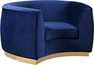 Meridian Furniture Julian Collection Modern | Contemporary Velvet Upholstered Chair with Stainless Steel Base in Rich Gold Finish, Navy, 49