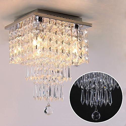Mini Crystal Chandelier Modern Raindrop Ceiling Lighting Flush Mount Pendant Light Fixture