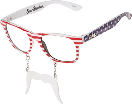 Red//White Sunstaches Hohoho Sunglasses Instant Costume UV400 Party Favors
