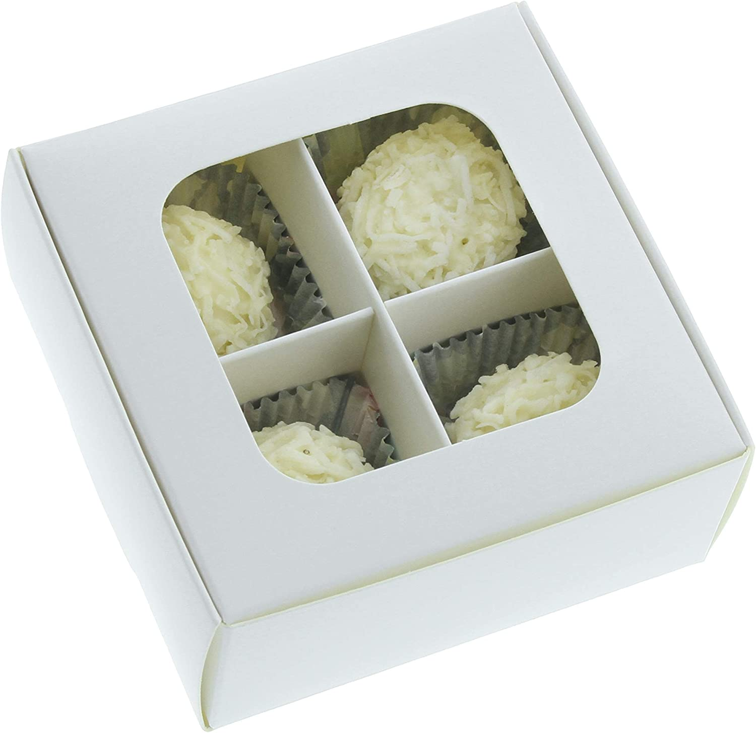 Gretel Mini Treat Boxes with Window and Dividers - Extra Small - Four Compartment Truffle Boxes Packaging for Homemade Chocolates and Candies - 3.5 x 3.5 x 1.57 inches | Pack of 20 (White)