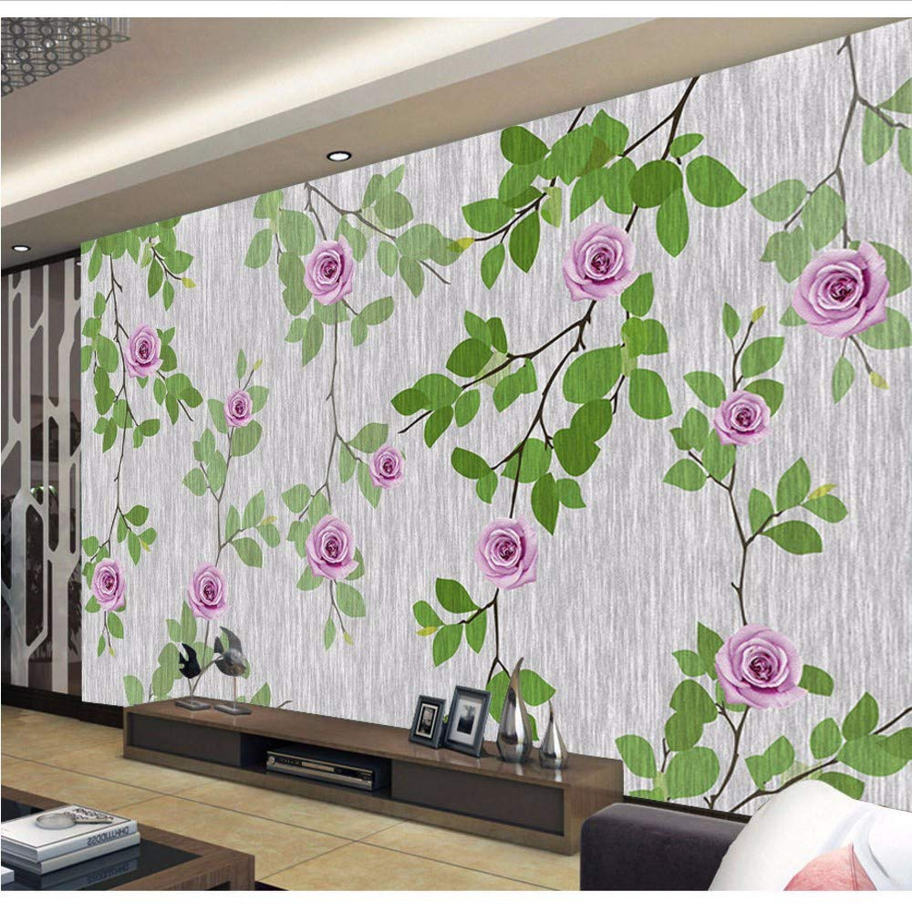 Amazon Weaeo 大きな壁緑の葉紫の花の壁紙背景の壁画3d写真壁画3d壁
