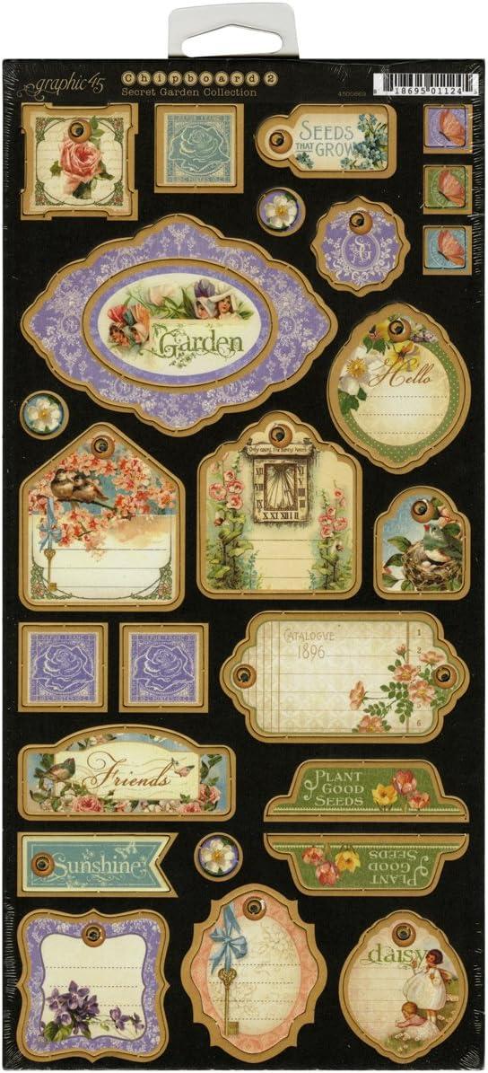 Graphic 45 Secret Garden Chipboard 2 for Scrapbooking