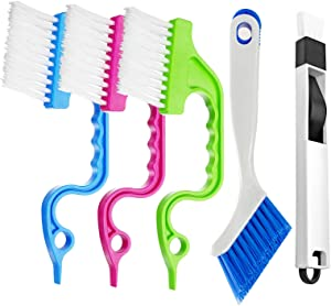 Groove Gap Cleaning Brush Window Cleaning Tools 5 PACK,TOPOFONE Scrub Brush Home Kitchen Cleaning Brush Tool for Window Air Conditioning Door Sliding Track Cleaning Brush Kitchen Cleaning Tools Kit
