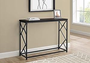 Monarch Specialties Accent Hallway Sofa Black Metal Frame Entryway Table, 44