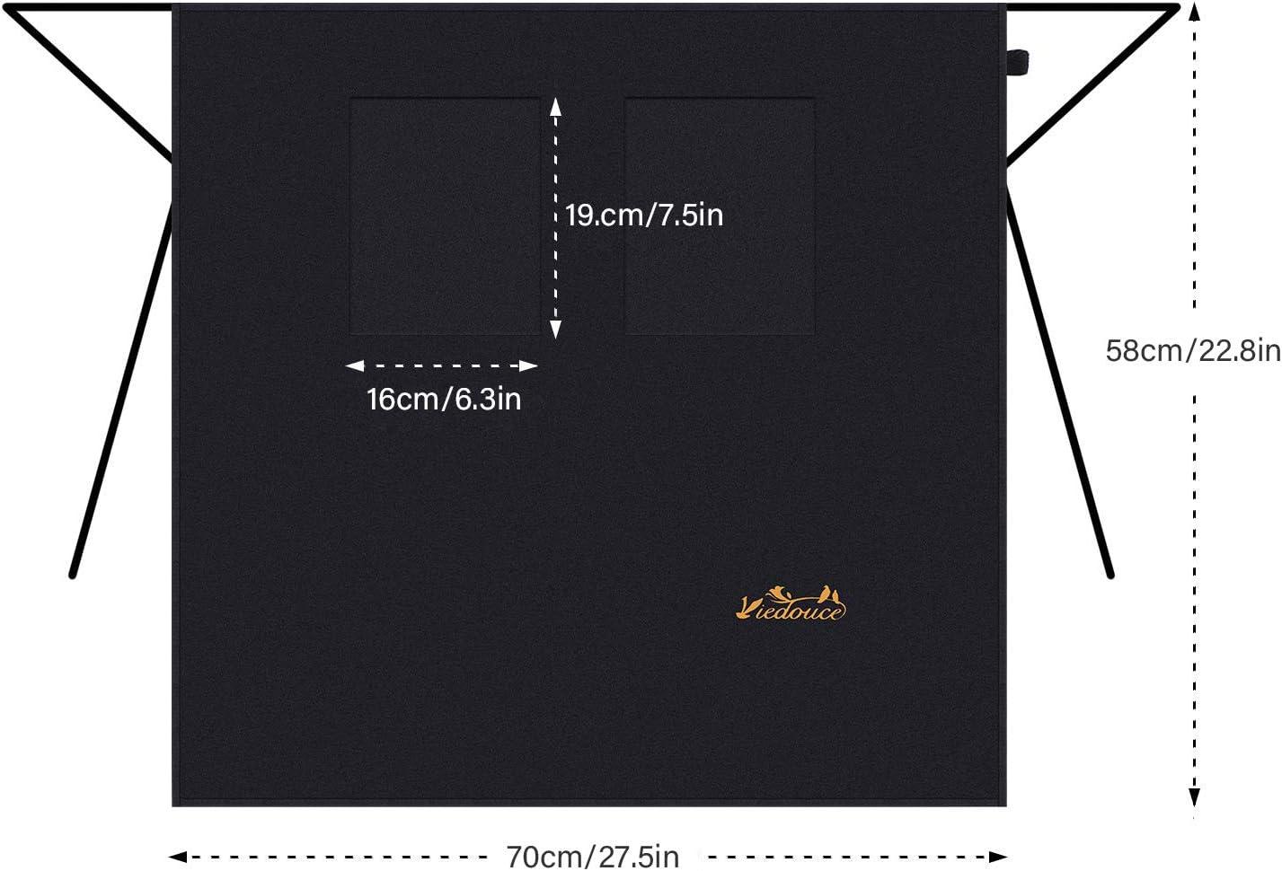 Viedouce 2 pi/èces Tabliers de Cuisine,Taille Basse Tablier Imperm/éable avec 2 Poches pour Restaurant Chef Serveur Barista Barbecue,Caf/é,Tablier pour Chef,Tablier pour Hommes Femmes Noir
