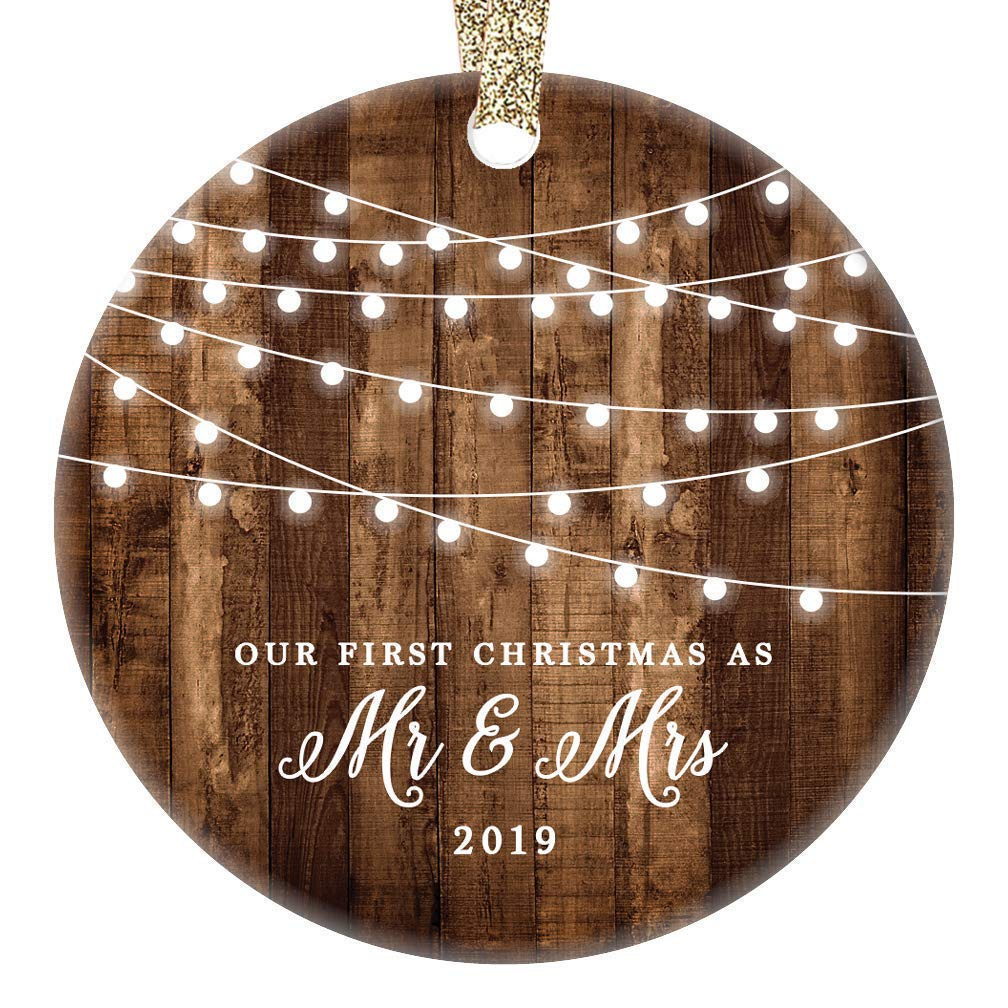 "First Christmas as Mr & Mrs Ornament 2019 Rustic 1st Year Married Newlyweds 3"" Flat Circle Porcelain Ceramic Ornament w Glossy Glaze, Gold Ribbon & Free Gift Box 