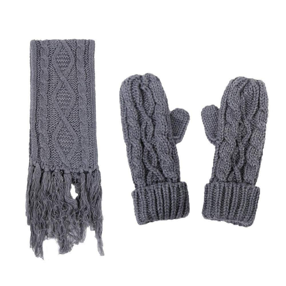 c44792b6ecd Women s Scarf Hat Gloves Set Soft Warm Thick Cable Knit Winter Accessories   Amazon.ca  Luggage   Bags