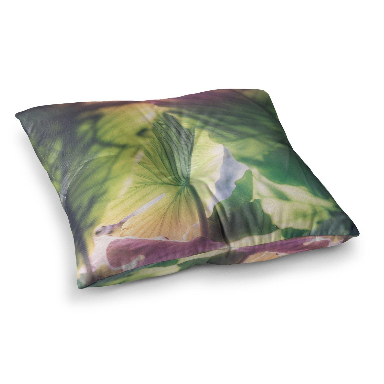 Kess InHouse Ann Barnes Mai Tai Green Pink Photography 23 x 23 Square Floor Pillow