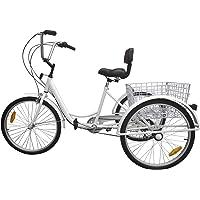 """Paneltech 24 """" 6 velocidades Engranajes 3 ruedas bicicleta para adultos Triciclos adultos Comodidad Bike Outdoor Sports City Urban Bicycle cesta incluida"""