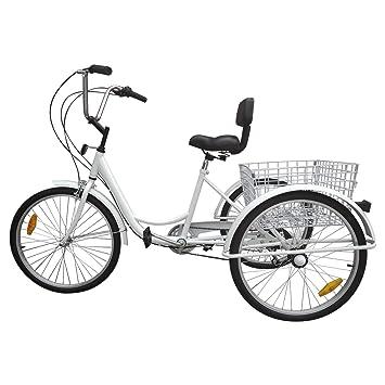 "Paneltech Triciclo para adultos 24 "" 6 velocidades Engranajes 3 ruedas bicicleta para adultos Triciclos"