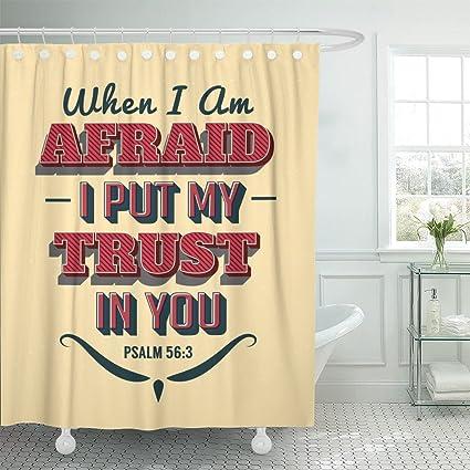 Emvency Shower Curtain Bible Scripture Vintage Christian With Psalms When Im Afraid I Put