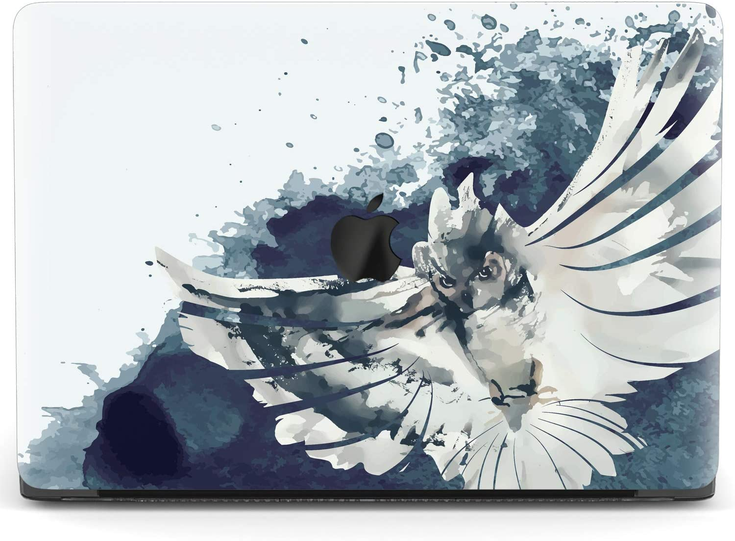 Mertak Hard Case for Apple MacBook Pro 16 Air 13 inch Mac 15 Retina 12 11 2020 2019 2018 2017 Design Painted Clear Wings White Print Aesthetic Bird Flying Owl Cover Plastic Protective Laptop