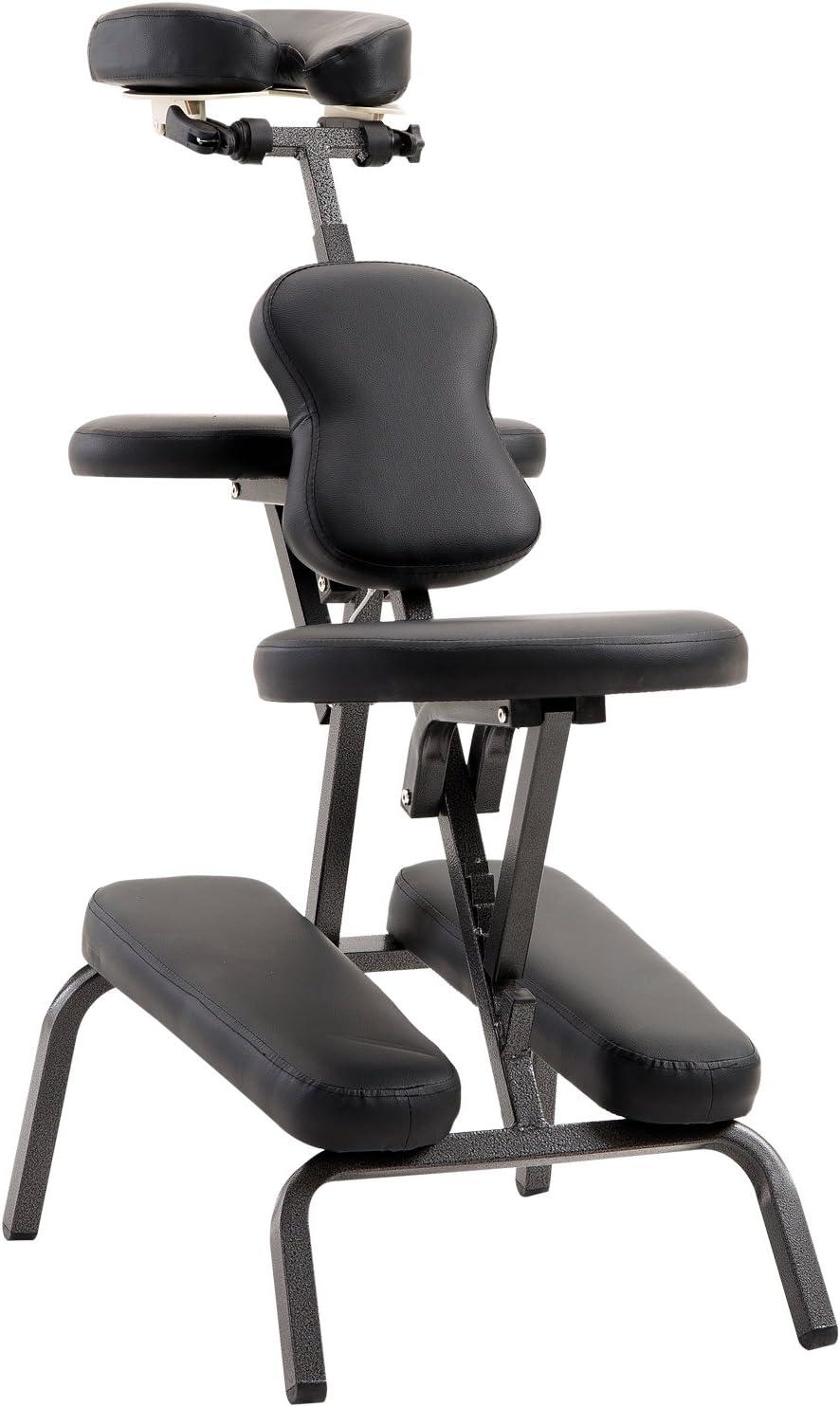 HOMCOM Silla de Masaje Plegable Portátil para Fisioterapia Rehabilitación Tatuaje Sillón de Tratamiento Ajustable con Bolsa de Transporte Acero Carga 150kg