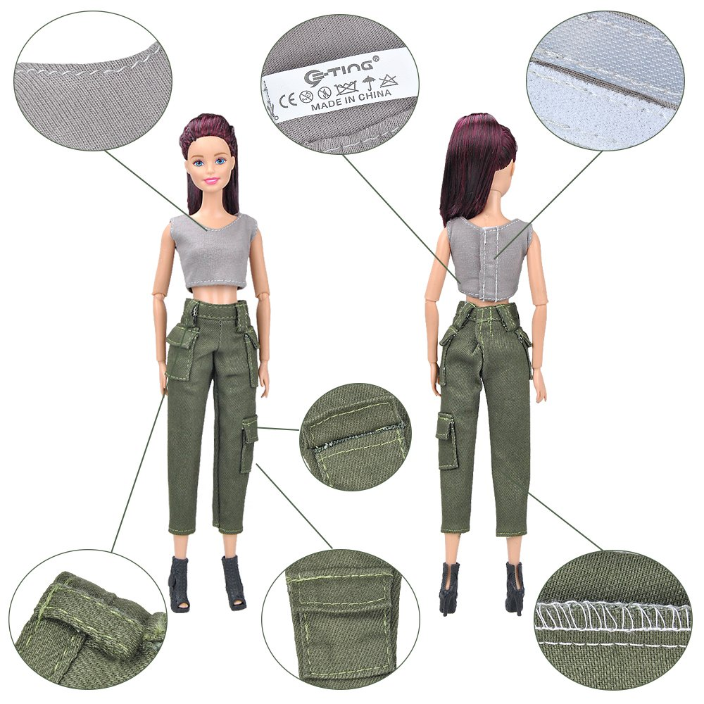 E-TING Handmade Fashion Doll Clothes Wears For Barbie Dolls (Army Uniform)