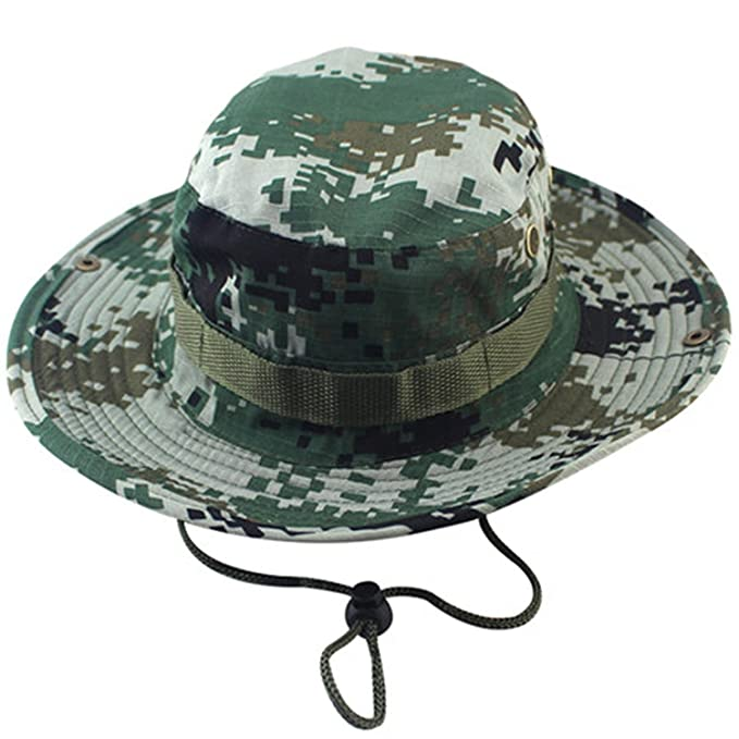 25fa73d6 Amazon.com: Military Camouflage Bucket Hats Jungle Camo Fisherman Hat with Wide  Brim Sun Fishing Bucket Hat Camping Caps: Clothing