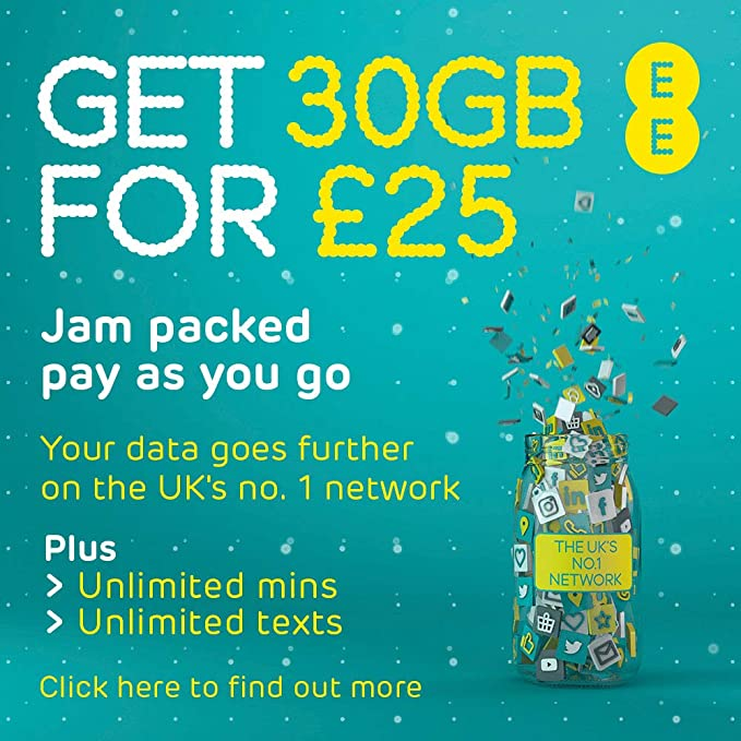 Ee 30gb Data Sim Includes 25 Top Up 30gb Data Unlimited Minutes Unlimited Texts Amazon Co Uk Electronics