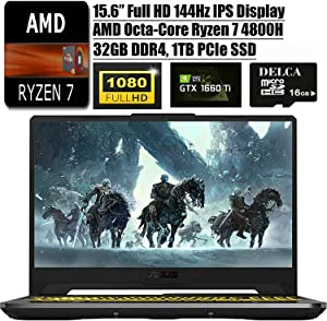 "Asus TUF A15 2020 Latest Gaming Laptop I 15.6"" 144Hz FHD I AMD 8-Core Ryzen 7 4800H(>I7-9750H) I 32GB DDR4 1TB PCIe SSD I NVIDIA GTX 1660 Ti RGBBacklit KB Win 10 + Delca 16GB Micro SD Card"
