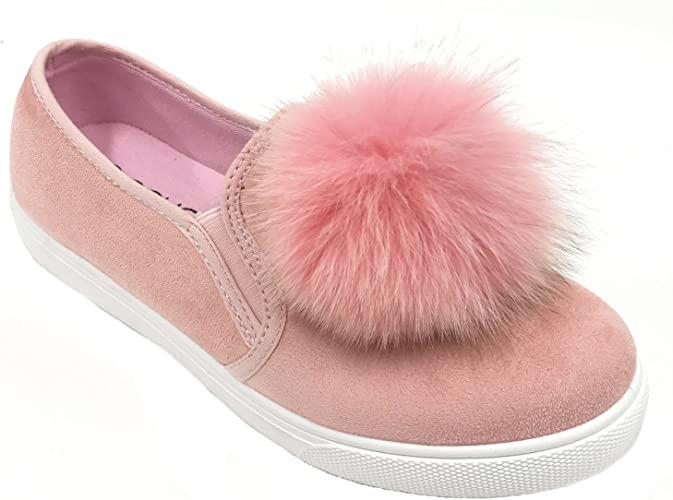 Soho Shoes Pom Pom Suede Sneakers