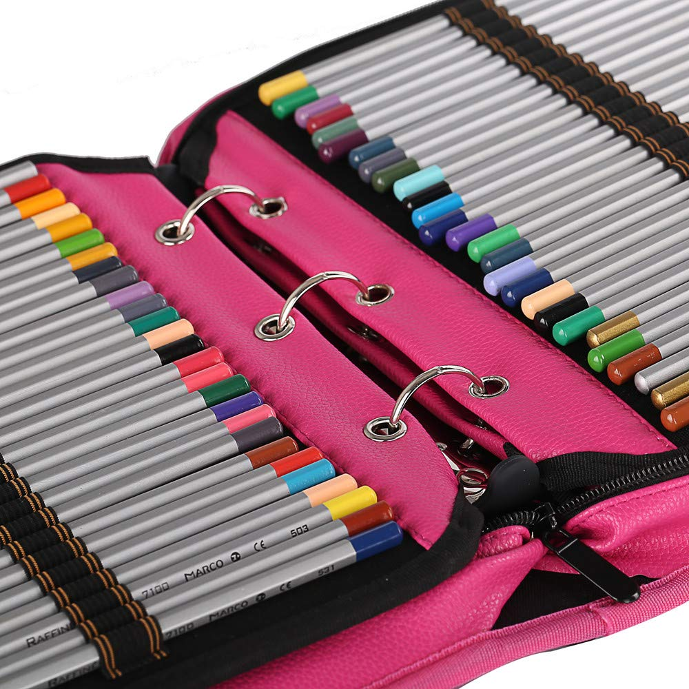 Shulaner 216 Slots PU Leather Colored Pencil Case Organizer Large Capacity Carrying Bag for Prismacolor Watercolor Pencils, Crayola Colored Pencils, Marco Pens, Gel Pens (Rose Red, 216) by Shulaner