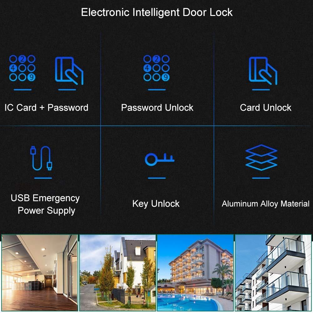Cerradura de puerta inteligente teclado de pantalla t/áctil antirrobo electr/ónico Contrase/ña digital Tarjeta IC Sistema de seguridad para apartamento de oficina en casa
