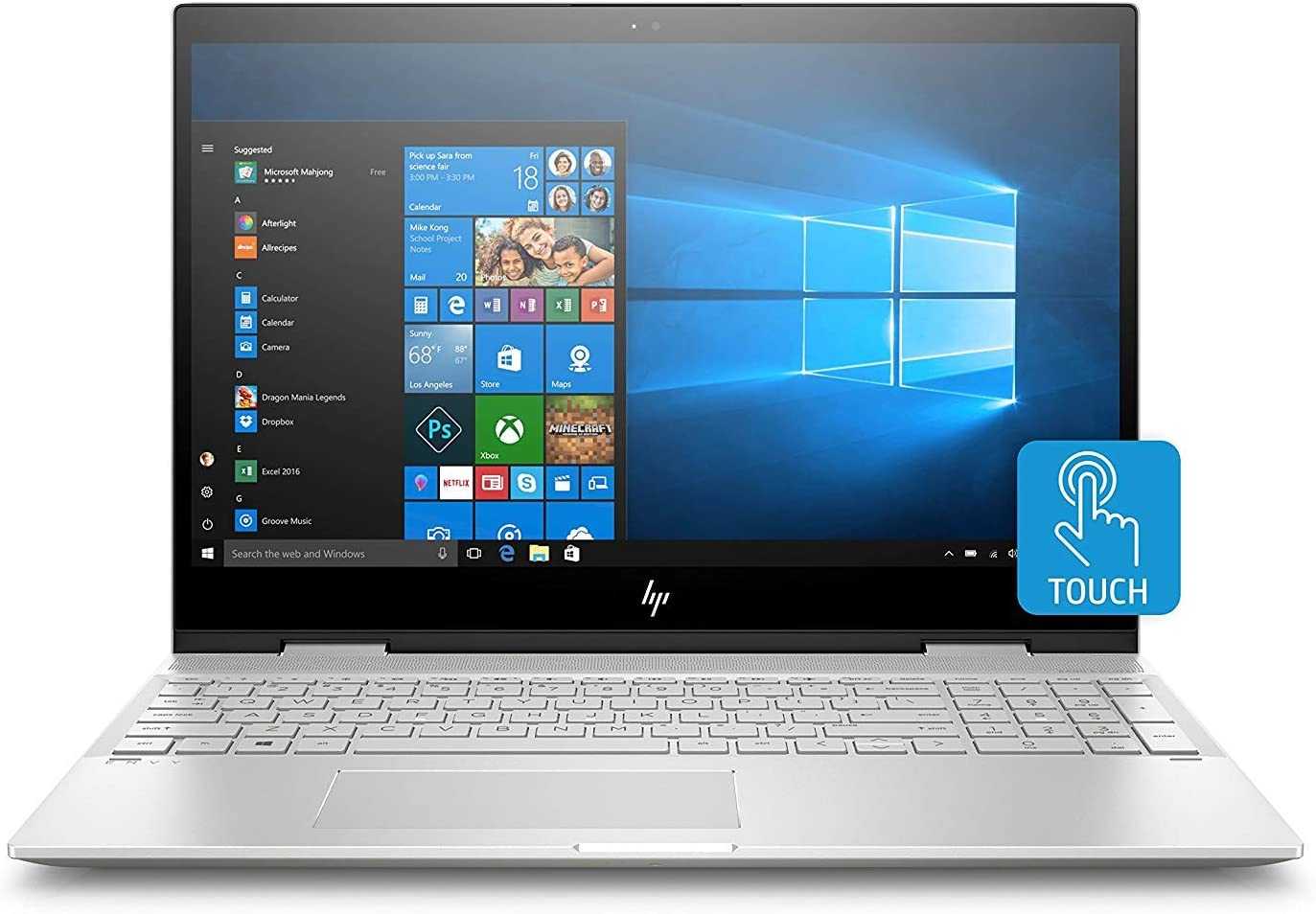 "HP Envy X360 15t 2-in-1 Touchscreen Laptop (Intel Core i7-8550U, 12GB DDR4 RAM, 256GB SSD, 15.6"" Full HD Touch Display, Windows 10) Convertible Notebook Computer"