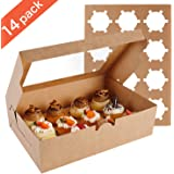 Farielyn-X 14 Packs Cupcake Boxes, Food Grade Kraft Bakery Boxes with Inserts and Display Windows Fits 12 Cupcakes or…