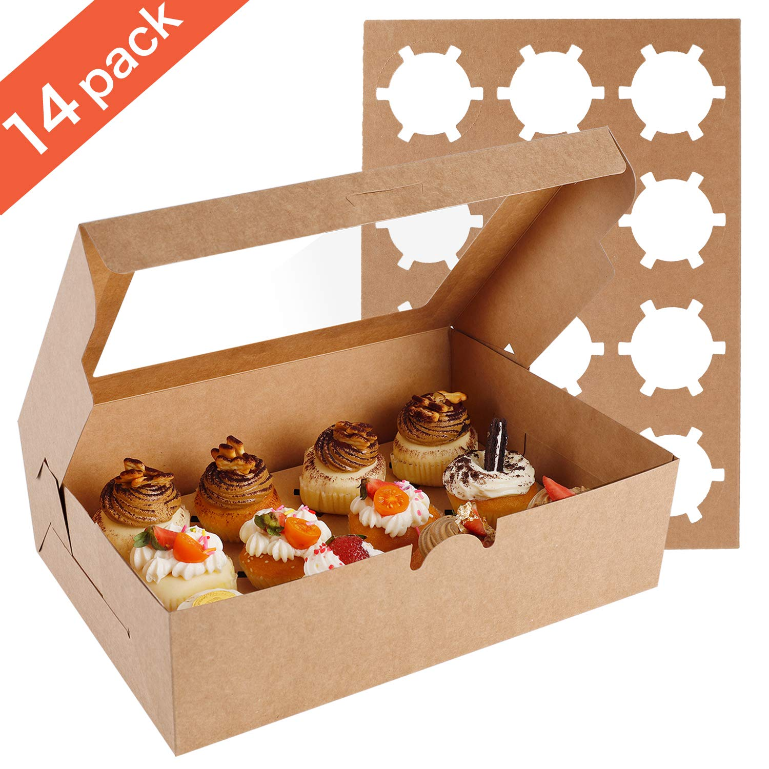 Farielyn-X 14 Packs Cupcake Boxes, Food Grade Kraft Bakery Boxes with Inserts and Display Windows Fits 12 Cupcakes or Muffins by Farielyn-X