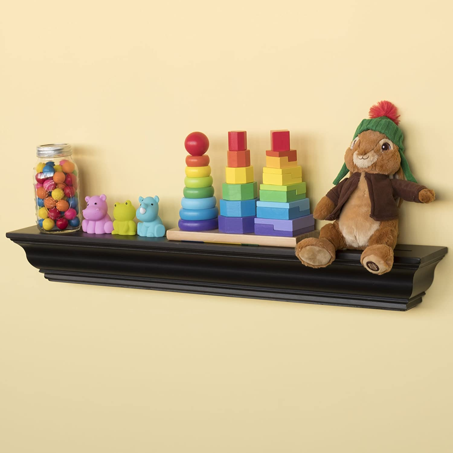 brightmaison Crown Molding Style Kids Room Wall Shelf Black Color 36 Inches Children's Stylish Floating Ledge Shelf