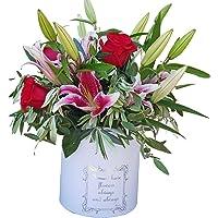Botanic Dessign-Ramo de flores natural variada ENTREGA 24H DE LUNES A VIERNES con cuatro tallos de rosas rojas y liliums…