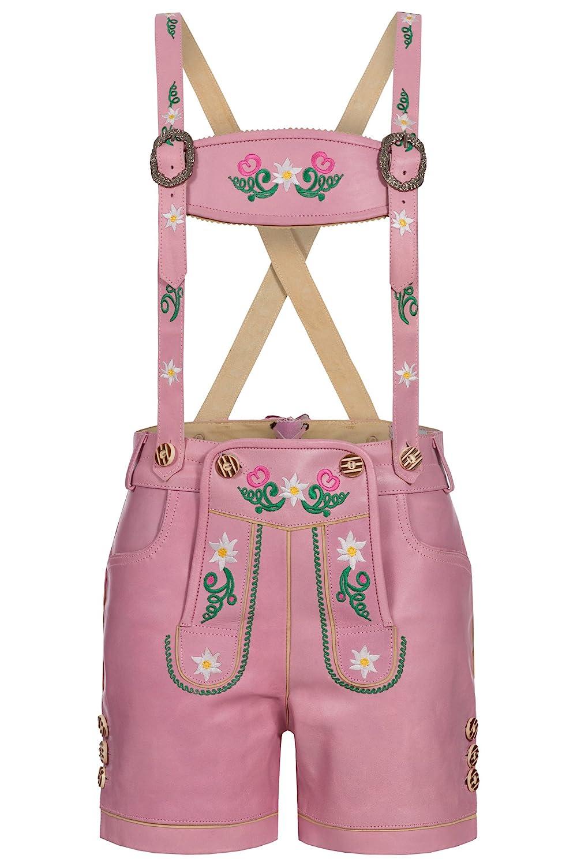 Aussergewöhnliche Pinke Damenlederhose kurz mit wunderschöner Stickerei