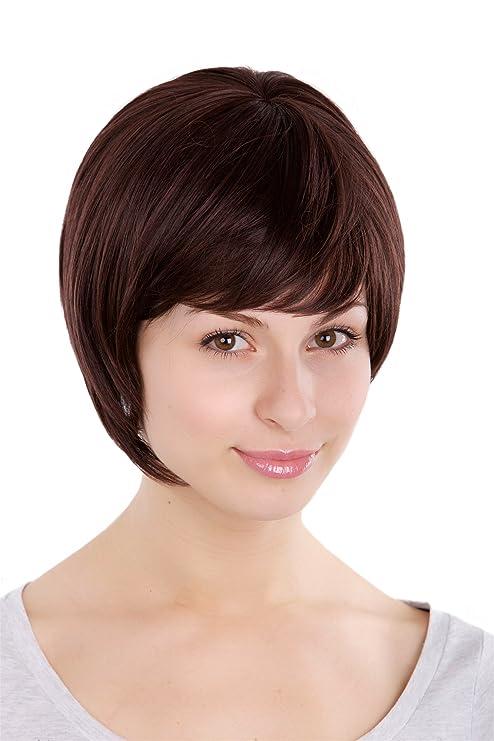 WIG ME UP ® - Peluca Bob con raya, marrón oscuro Wig 1237-2T33
