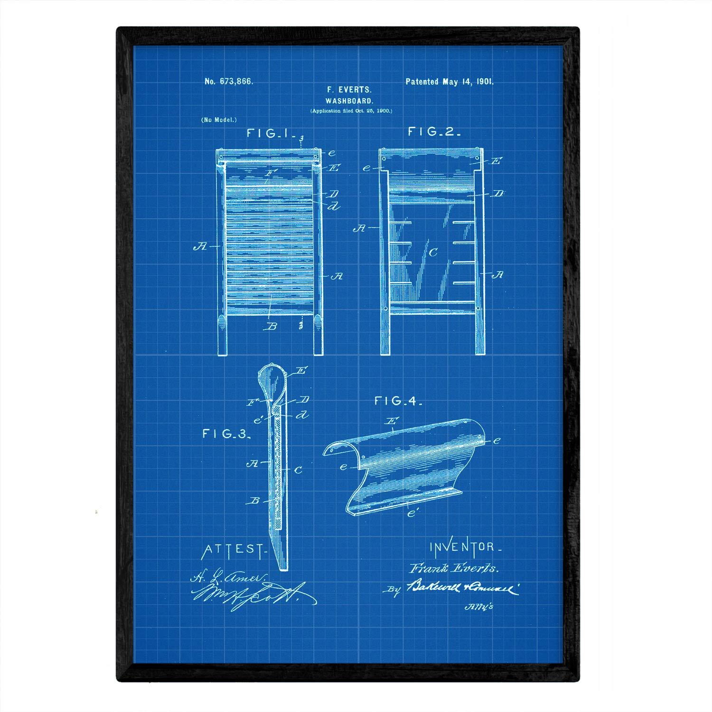 Nacnic Poster con Patente de Lavadora. Lámina con diseño de ...