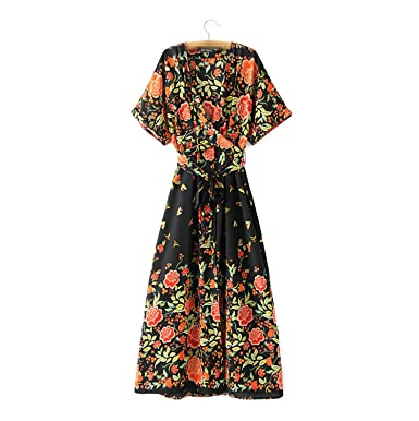 Venetia Morton Fashion Maxi Dresses Women Vintage Floral Print Short Sleeve Bow Sashes Dress Brand Women