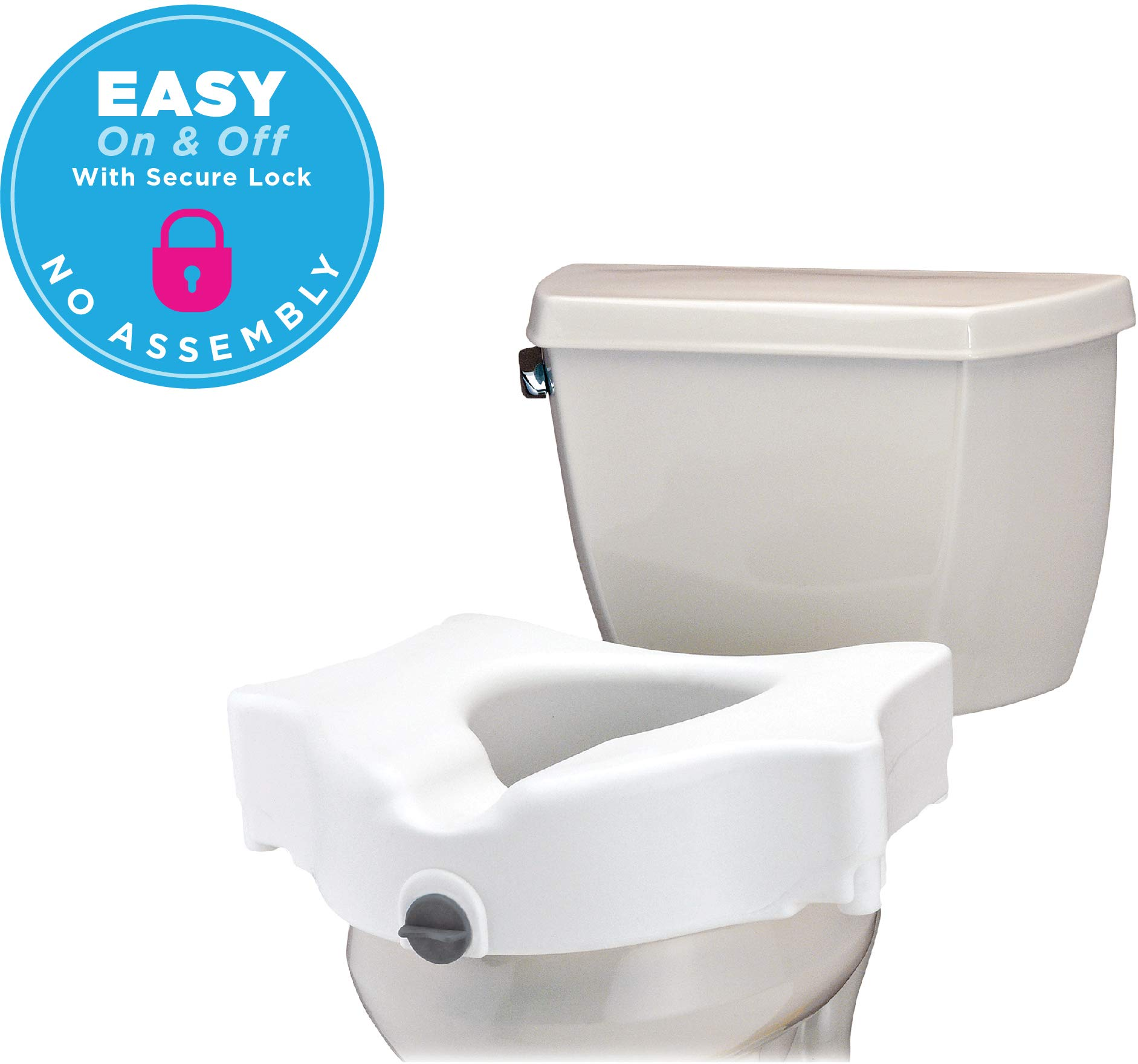 NOVA Elevated Raised Toilet Seat, Locking Easy On and Off, for Standard and Elongated Toilets by NOVA Medical Products