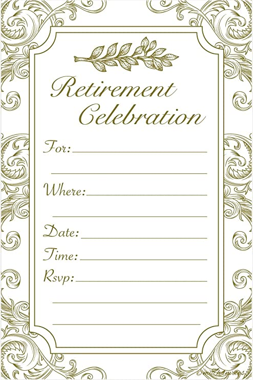 Retirement Party Invitations Fill In Style 20 Count With Envelopes