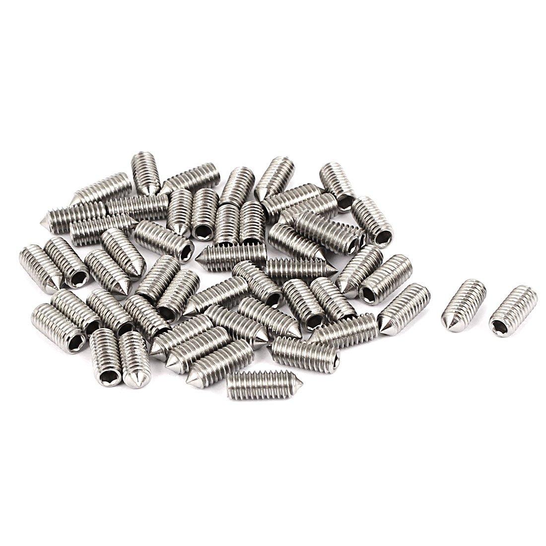 sourcingmap/® M4x10mm de acero inoxidable hexagonal del V/értice sin cabeza tornillos 50pcs