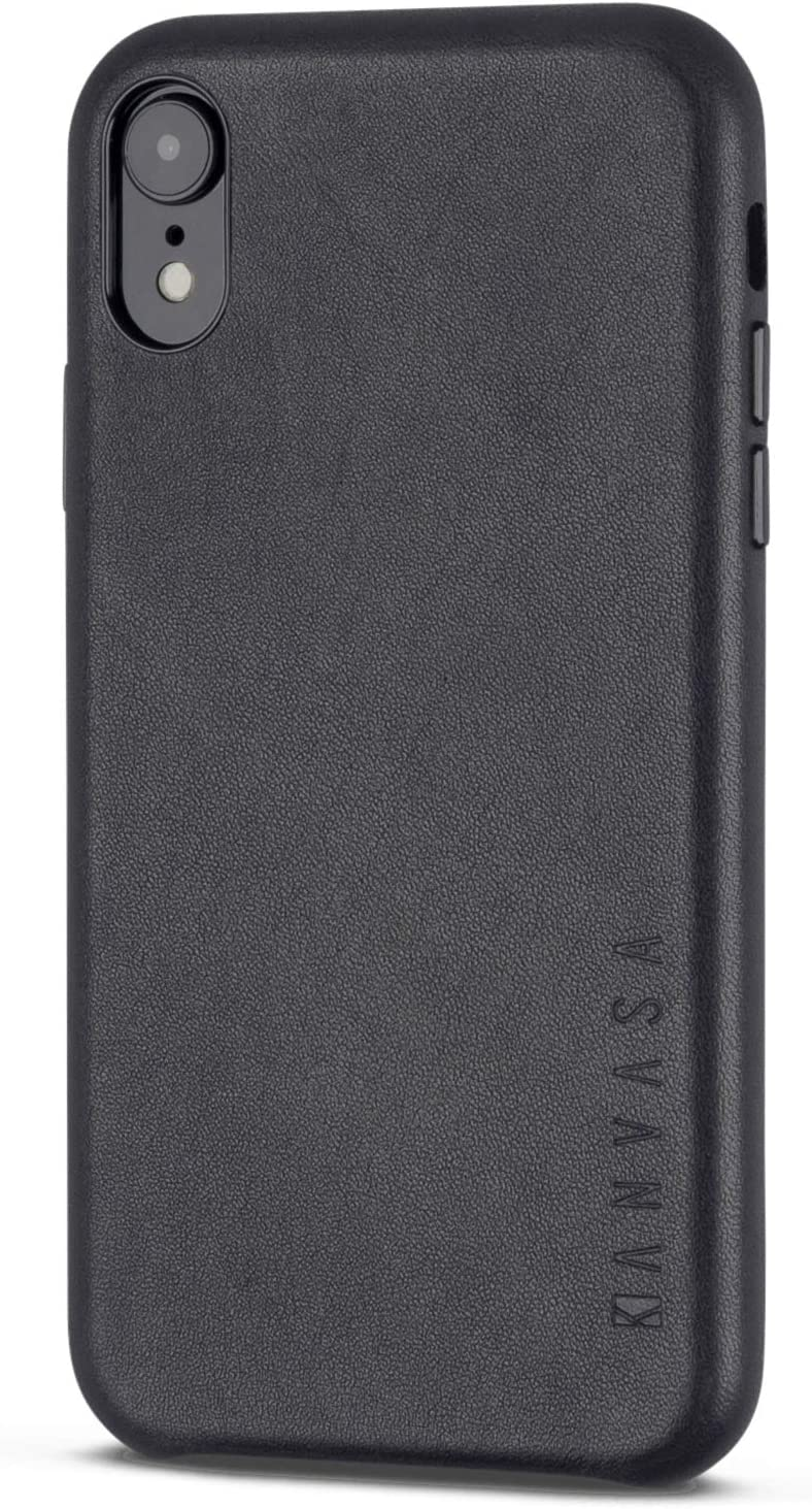 iPhone XR Leather Case Black - KANVASA Skin Back Cover for The Original Apple iPhone XR/iPhone 10r - Luxury Pouch from Real Genuine Leather - Optimal Protection & Premium Leather - Ultra Thin