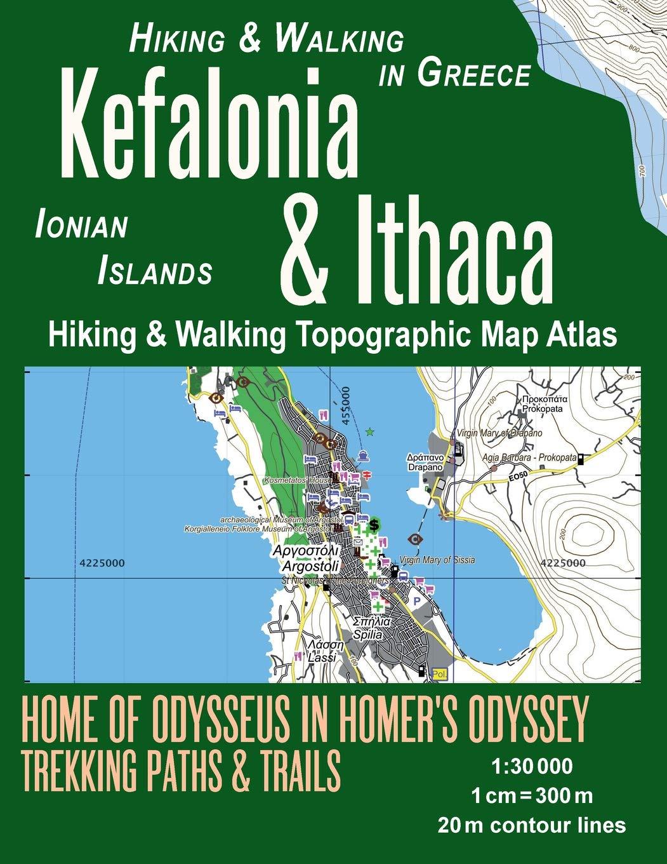 Kefalonia Ithaca Hiking Walking Topographic Map Atlas 1 30000