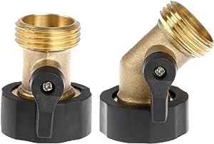 Omigga 2 Pack Valve Water Hose Connector, Heavy Duty Brass Shut Off Garden Hose Splitter Adapter