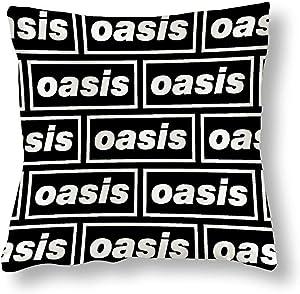 Rockfeeltee Soft Satin Throw Pillow Case Oasis Logo Home Decor Pillow Cases Cushion Cover 18''×18''
